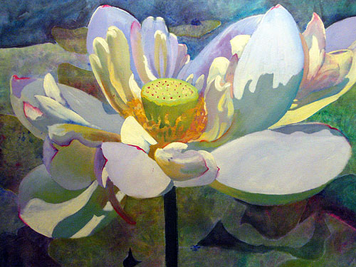painting of lotus blossom